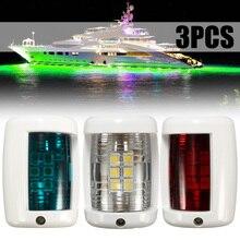 3pcs 12V Navigation LED Signal Light Red Green White Sailing Lamp For Mini Marine Boat Yacht Masthead Starboard Port