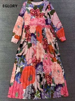 Beautiful Long Dress 2020 Summer High Quality Women O Neck Colorful Flower Print Long Sleeve Pleated Maxi Dress Clothing Beach