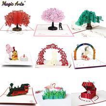 3D всплывающие открытки цветы открытка на день рождения Юбилей подарки открытка Единорог клен вишня дерево свадебные приглашения Поздравительные Открытки