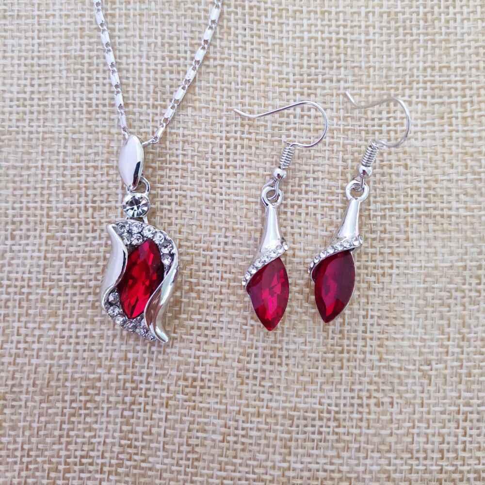 925 sterling silver naszyjnik kolczyki prezent, ślub kobiet biżuteria ustaw Fine jewelry Austria kryształ srebrny czerwony wisiorek