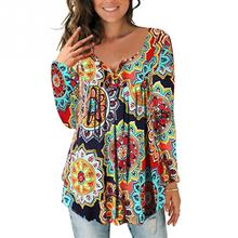 Women's Shirt Women's Blouse Casual Floral Printed Tops 2019 Autumn Long Sleeve V Neck Tunic Tops Ladies Shirts Sexy Fashion Top недорого