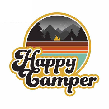 Happy Camper Bumper Car Stickers and Decal Laptop Creative Cartoon Graffiti Vinyl Car Wrap Decoration Accessories KK13*12cm