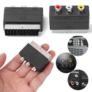 Черный 21PIN штекер Scart для 3RCA Phono Female AV TV Аудио Видео адаптер, вход для PS4 Для Playstation DVD VCR