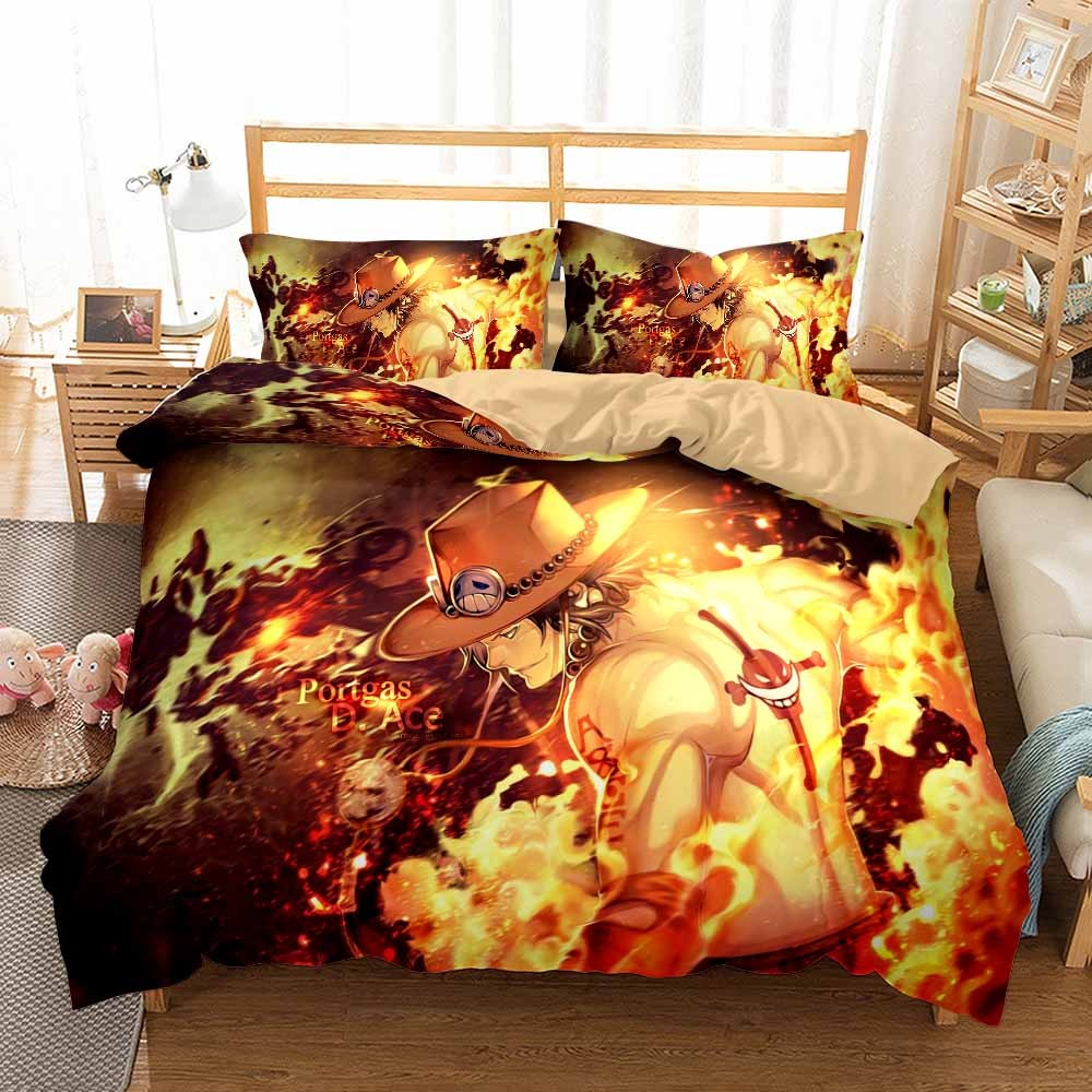 Classic One Piece Anime Bedding Set 3Pcs Cartoon Fire Punch Ace Sauron Swordsman Bed Linen Duvet Cover Set Boys Kids Bedclothes