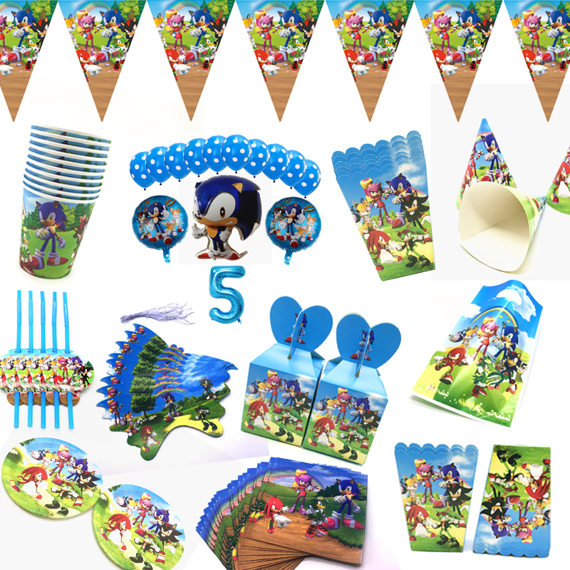 Sonic The Hedgehog Theme Birthday Party Decorations Balloon Sonic Cups Flags Plates Party Supplies Super Mario Gift Bags Supply