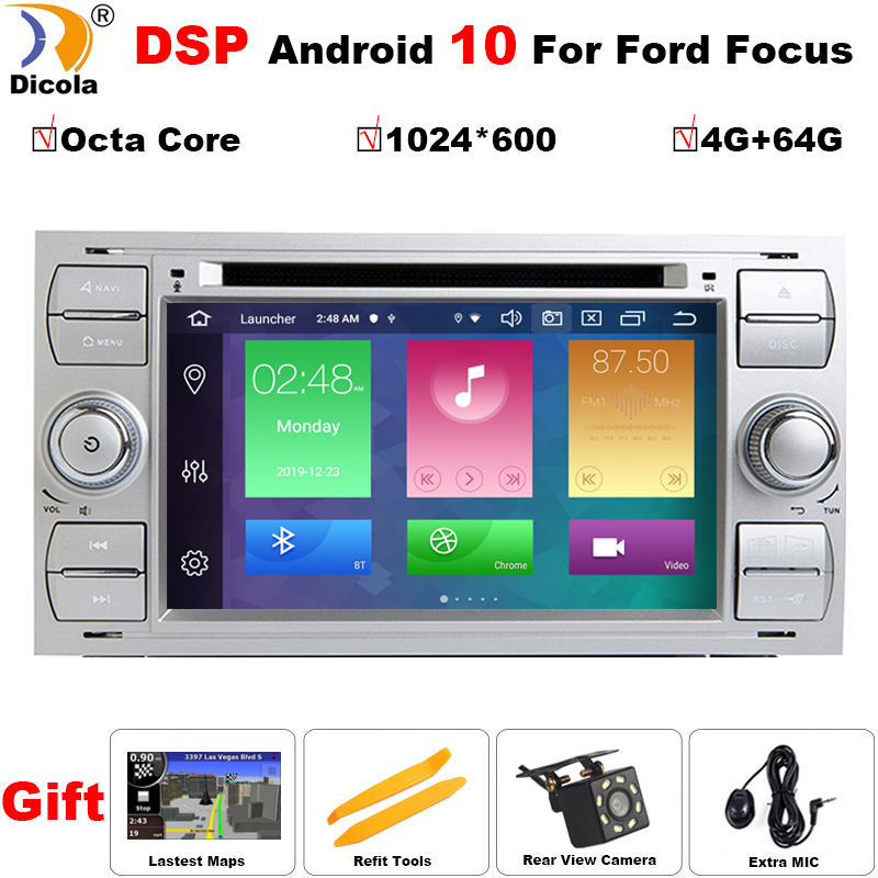 IPS DSP Android 10 voiture dvd pour Ford focus Mondeo s-max smax c-max avec 4G RAM 64G ROM radio gps lecteur multimédia 1024*600 navigation