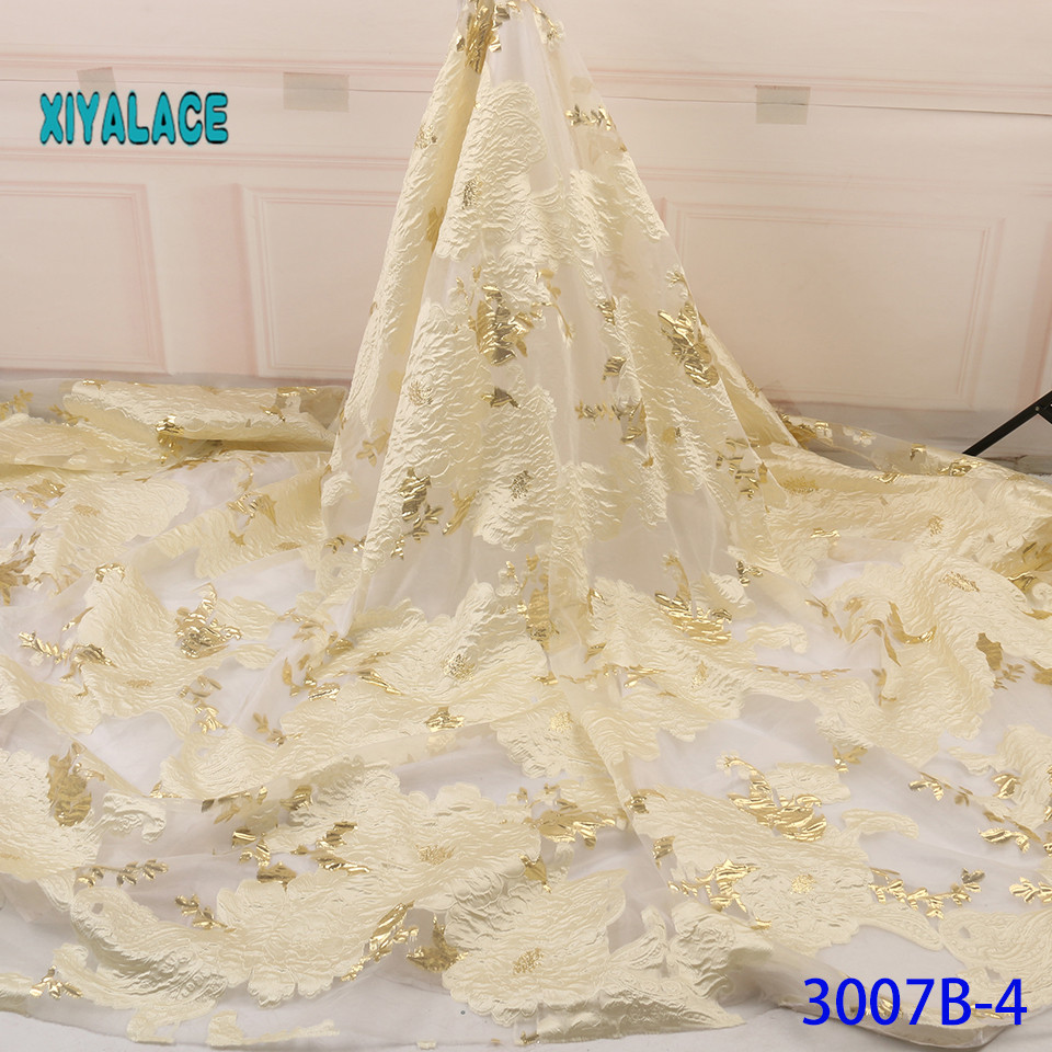 African Net Lace Fabric High Quality African Wedding Lace Fabric 5 Yards French Jacquard Lace For African Lace YA3007B-4