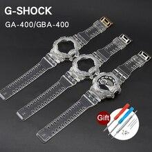 Replacement Case Watch Band for Casio G-Shock GA-400 GBA-400 Transparent Silicone Men Women Strap Bracelet Watchband With Tools casio g shock gba 400 7c с хронографом белый