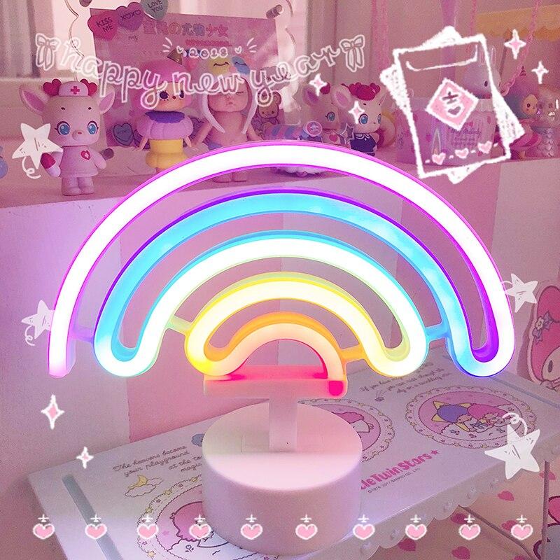Rainbow Unicorn Neon Led Night Lamp Girls Bedroom Warm Night Light Room Decoration 3d Acrylic Table Desk Lamp Gifts