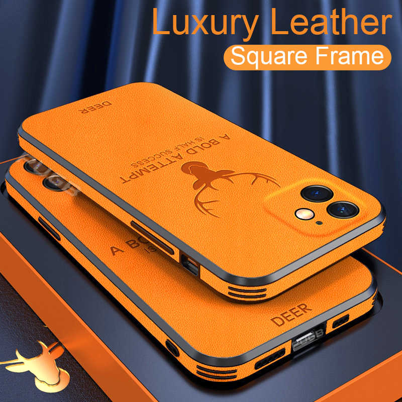 Luxe Lederen Textuur Vierkant Frame Case Voor Iphone 12 Mini 11 Pro Max Iphone X Xr Xs Camera Bescherming Shockproof telefoon Cover