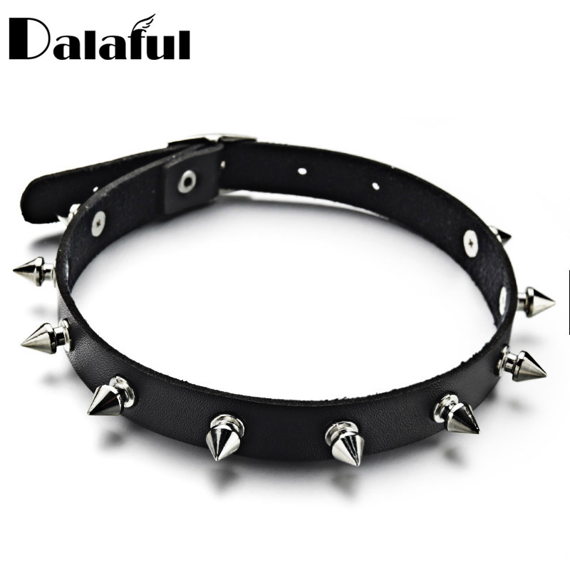 Metal Spike Choker PU Leather Collar Necklace Punk Necklace Statement Jewelry for women Neck Accessories X627