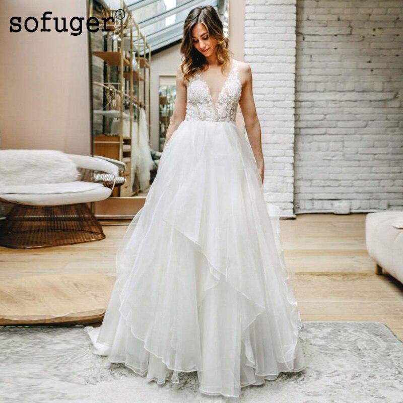 Ivory White Wedding Dress Organza Lace V Neck Robe De Mariee Backless Sofuge Dubai Arabic Abiti Da Sposa