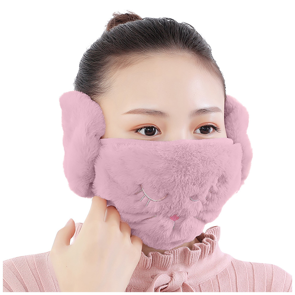 Women 2 In 1 Warm Mask Earmuffs Cartoon Cat Autumn Winter Thicken Plush Outdoor Mask Windproof Dustproof Mask Маска #50g|Women