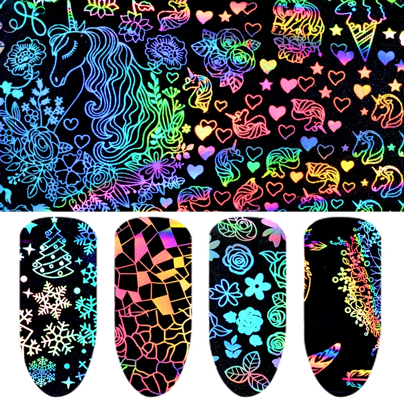 AliExpress Hot Selling Manicure Laser Star Stickers Thermal Transfer Nail Decals Symphony Star Paper