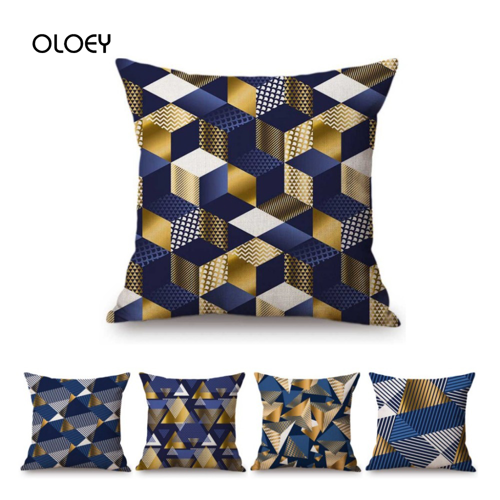Blue Gold Geometric Decorative Polyester Pillow Case Home Bedroom Hotel Car Seat Decorative Pillow Case Wedding Gift 45x45cm  ..