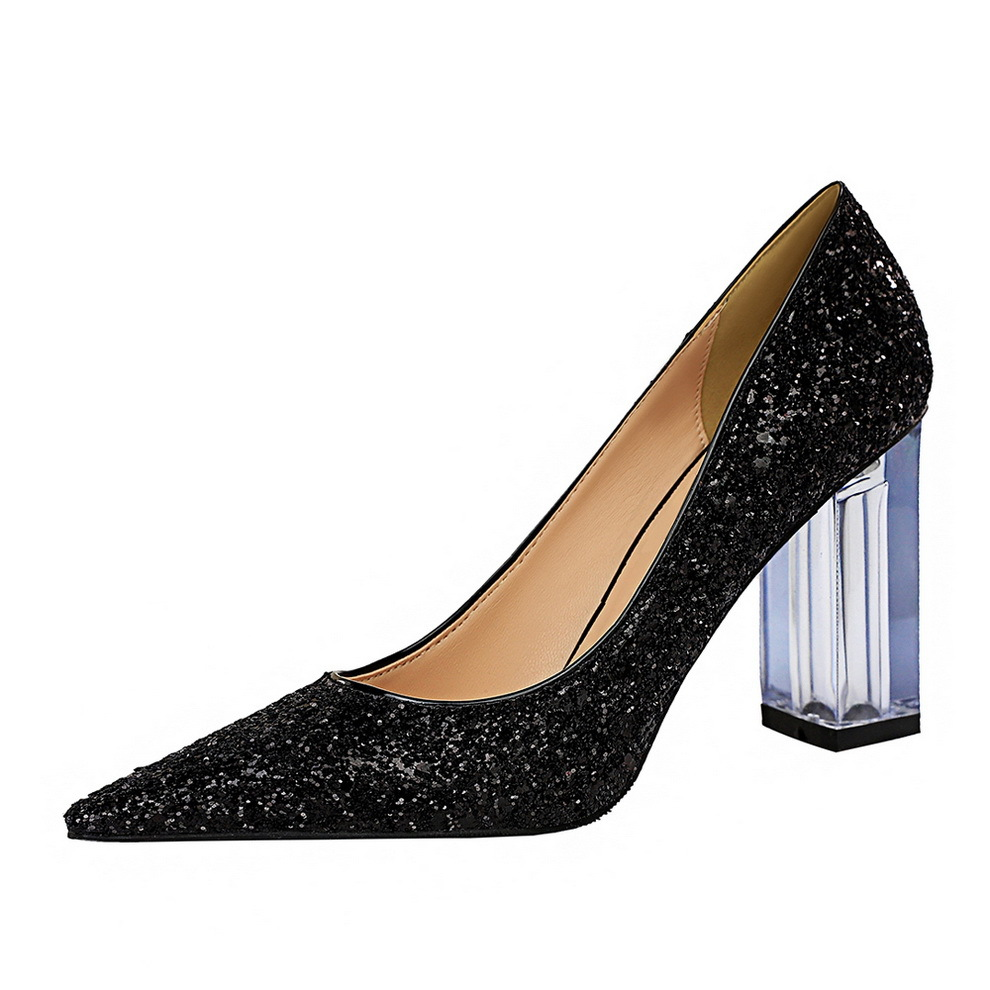 Bling Glitters Pumps Women Elegant High Heels Party Prom Shoes Ladies 2020 Pointed Toe Clear PVC Heels Wedding Dress Shoes Woman