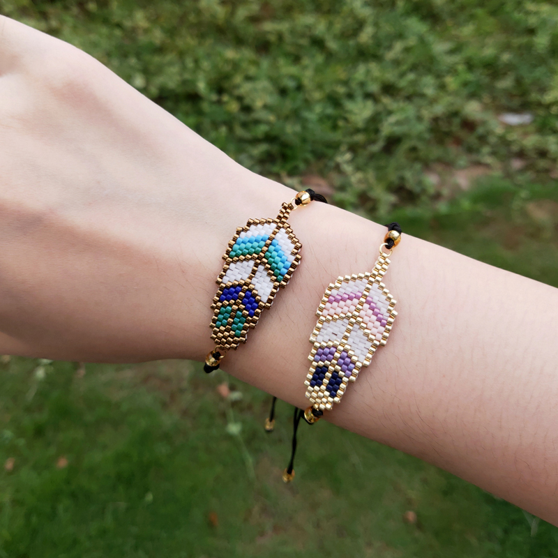 FAIRYWOO Leaf Bracelets Miyuki Beaded Pendant Drawstring Rope Bracelet For Women Jewelry Green Luck Delica Friendship Bracelet
