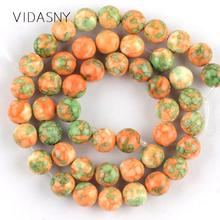 Natural Stone Yellow Green Rain Flower Beads For Jewelry Making 4 6 8 10 12mm Charm Loose Diy Bracelet Necklace 15