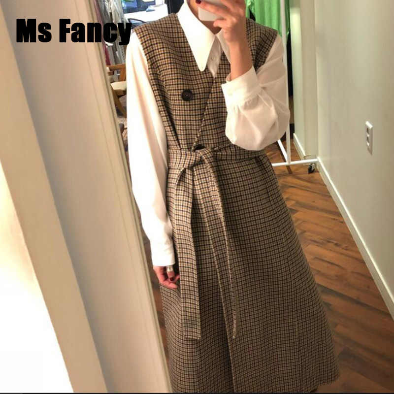 Autumn Women Clothing Vintage Woollen Plaid Vneck Sleeveless Vest Dress Double-breasted Lace-up Coat
