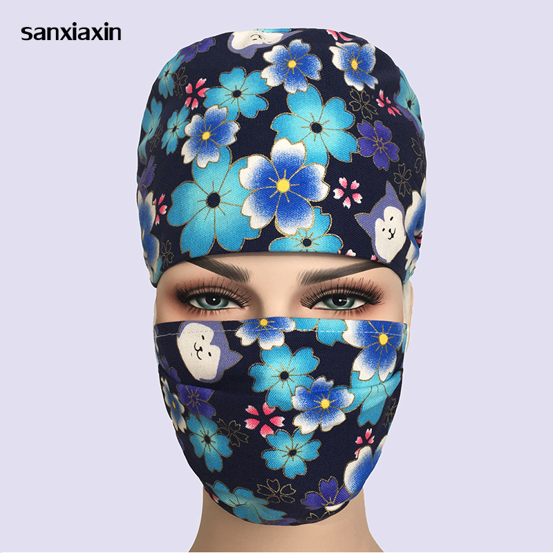 Sanxiaxin Wholesale Cotton Print Adjustable Pet Hospital Work Hats Surgical Caps Women Men Doctor Nurse Caps Beauty Pharmacy Hat