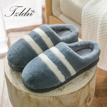 2019 TZLDN Home Indoor Men Slippers Winter Cotton Warm Slippers Stripe Coral fleece Non slip Shoes Lover Soft Basic Slippers