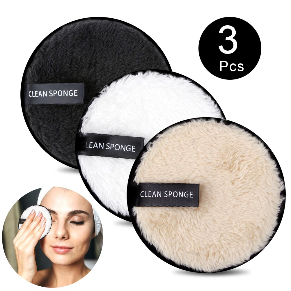 1/3Pcs Makeup Remover Pads Microfiber Reusable Face Towel Make-up Wipes Cloth Washable Cotton Pads Skin Care Cleansing Puff