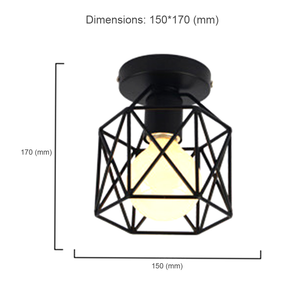 Square Pendant Lamp Cage without Light Bulb Walkway Kitchen Home Decor Cage LED Down Light Iron Bedroom Fixture Yard Flush Mount