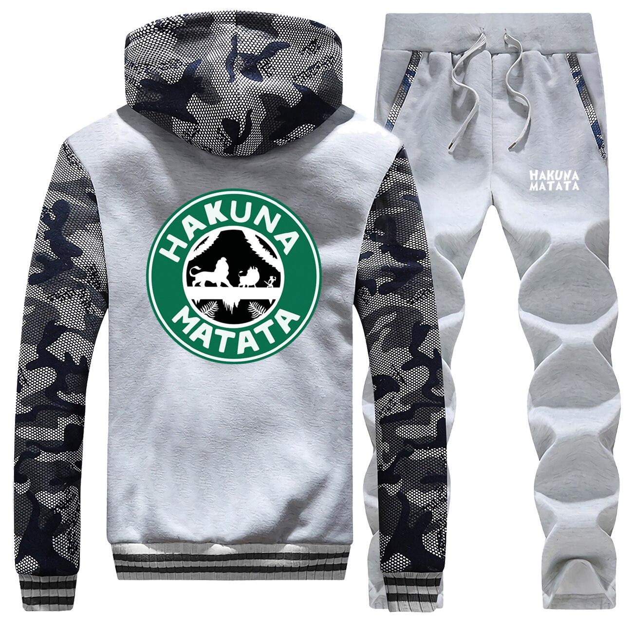The Lion King Streetwear 2019 Winter Men Hoodie Camouflage Coat Thick Suit Cartoon HAKUNA MATATA Warm Jackets+Pants 2 Piece Set