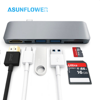hot 6 in 1 Type C Converter to Multi USB 3.0 Port Adapter for MacBook Pro Air 13 15 USB C HUB Support USB C PD Fast Charging