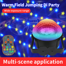 LED Mini Colorful Stage Projector Starry Sky Pattern Lights USB Charged Night Light Muti-Modes Timing Voice Remote Control Lamp