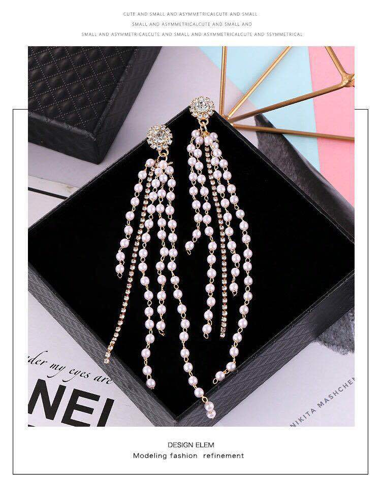 asymmetric Pearl tassel long  personality earrings jewelry exaggerated korean for women rhinestone