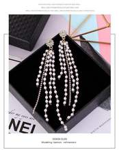 asymmetric Pearl tassel long  personality earrings jewelry exaggerated korean earrings  for women  rhinestone  long earrings pair of stylish rhinestone flower asymmetric design earrings for women