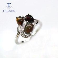 TBJ, natürliche Äthiopien Schwarz opal Ring blau kyanite edelstein 925 sterling silber edlen schmuck für frauen mom frau nizza geschenk