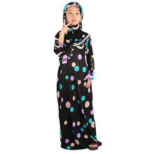 2019 Hooded Abaya for Kids Dubai Girl Dress Turkish Jilbab Long Islamic Dresses Burka Fashion Tunique Femme Musulmane Kaftan Kid