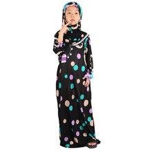 2019 z kapturem Abaya dla dzieci dubaj dziewczyna sukienka turecki Jilbab długie suknie islamskie Burka moda Tunique Femme Musulmane Kaftan Kid
