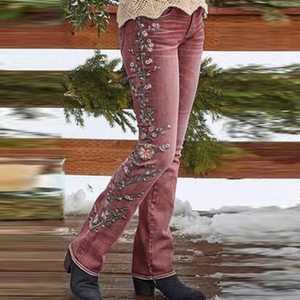 2020 New Fashion Embroidery Retro Style Embroidered Straight Leg Pants Jeans Women's Trousers Casual Spring Autumn On Both Sides