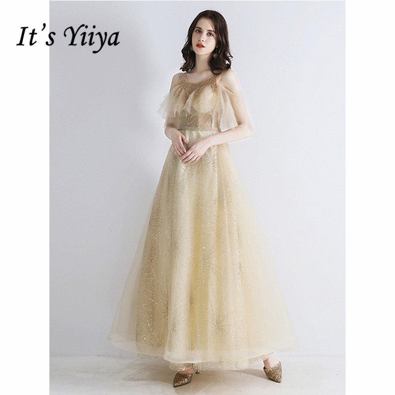 It's Yiiya Evening Dress 2019 Ruffles Sleeve O-Neck Lace Up Ball Gowns Long Women Party Ankle-Length Dresses Plus Szie E1071