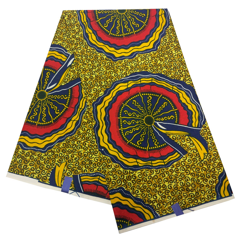 African 2019 Fashion New Pattern 6yards Wheel Pattern Printing Fabric Ankara Fabric Real  Dutch Wax