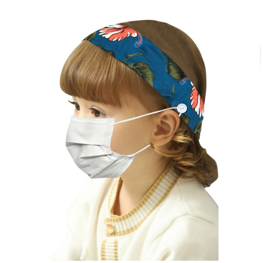Ободки с цветочным принтом для маленьких девочек; Модная повязка на голову с цветочным принтом и пуговицами; Ободки для волос; Маска для лица; Защита для ушей; Защита от боли
