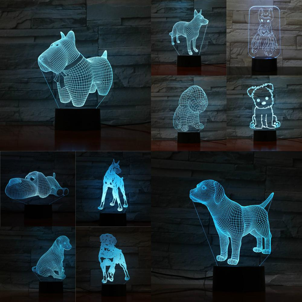 3D Dog Lamp 7 Colors Changing Night Light Touch Remote Base Gifts For Children Bedroom Decor Acrylic Plate Support USB Charging