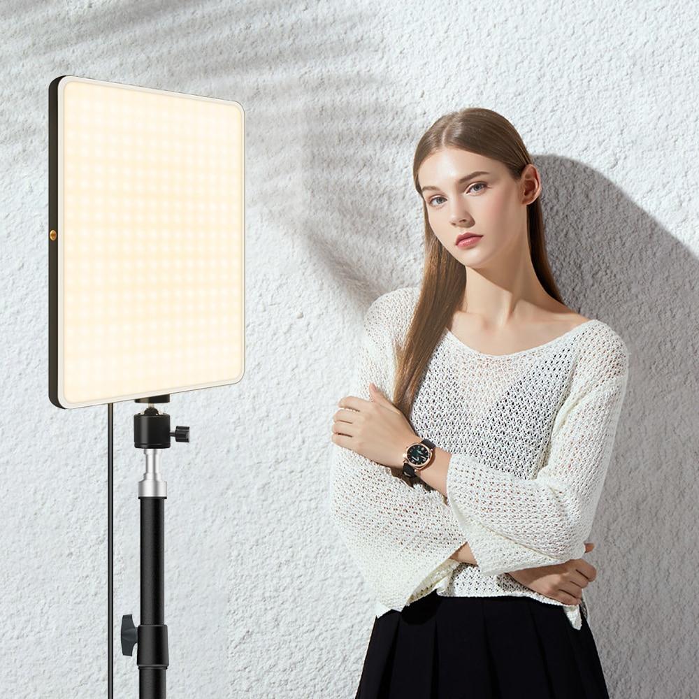 Dimmable LED Video Light Panel EU Plug 2700k-5700k Photography Lighting For Live Stream Photo Studio Fill Lamp Three Color