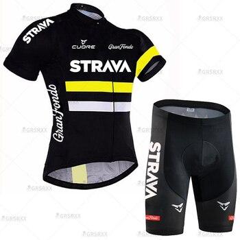 STRAVA Cycling Jersey Men Set Bib Shorts Set Summer Mountain Bike Bicycle Suit Anti-UV Bicycle Team Racing Uniform Clothes 23