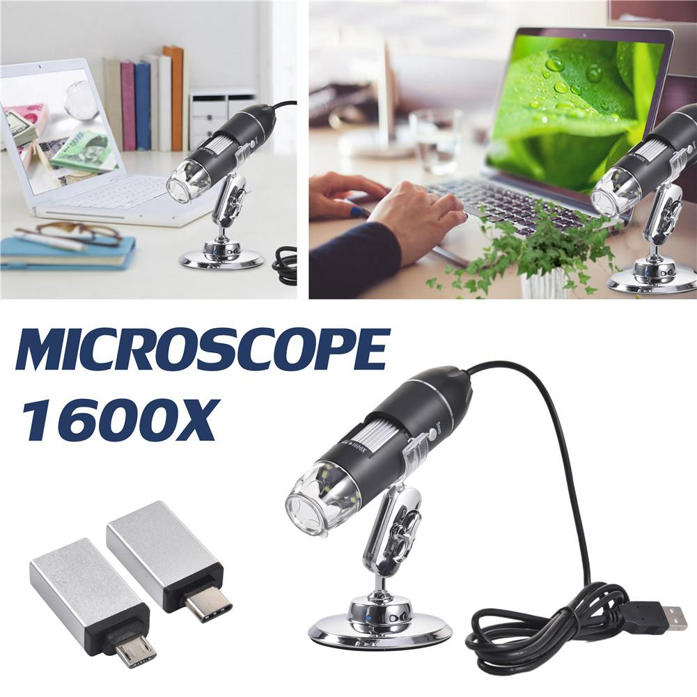 3-in-1 Digital Microscope 1600X/1000X Portable Two Adapters Support Windows Android Phones Magnifier #40