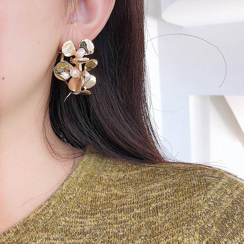Top Design Cubic Metal Flower Earrings Women Vintage Luxury New Fashion Jewelry Pendientes