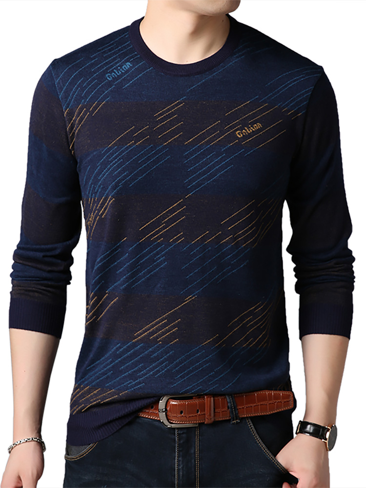 Pullover Men Knitwear Striped COODRONY New-Arrival Spring Autumn O-Neck C1041