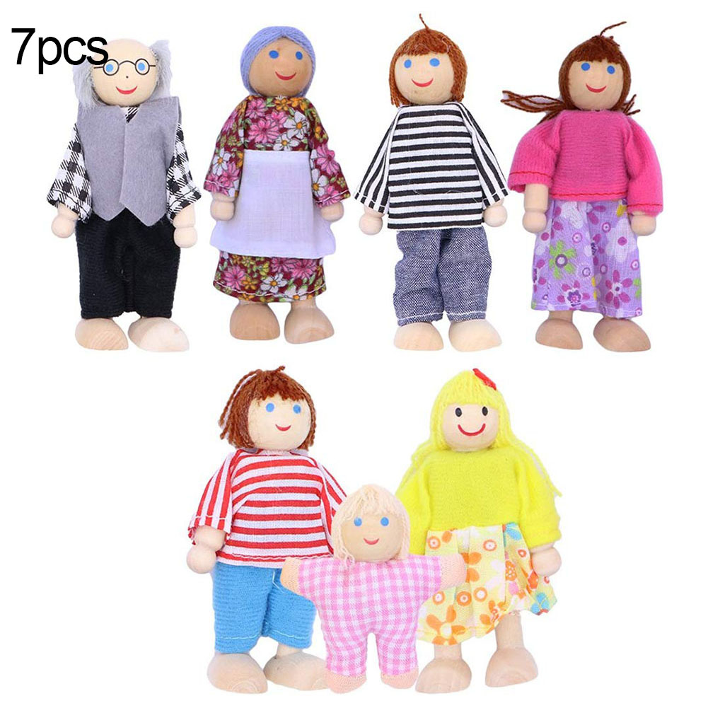 Cute Wooden Happy Family Dressed Puppet Flexible Joints Doll House Accessory Kids Toy Birthday Gift 7