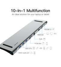 Aluminum 10 in 1 Hub USB Type-C to USB3.0 TF HDMI VGA RJ45 Mini DP Docking Station Adapter for MacBook Pro For HUAWEI P30 PRo