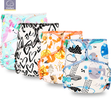 Elinfant 10pcs set Reusable Heavy Wetter Hybrid Fitted AIO/AI2 Waterproof Bamboo Velour Baby Cloth Diaper Drop Shipping