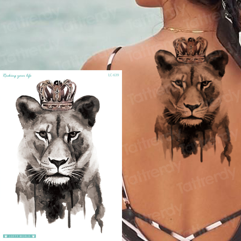 King Queen Tattoo Tiger Lion Animals Temporary Tattoo Sticker Wolf Fox Waterproof Tattoo For Man Girls Sexy Body Art Stickers