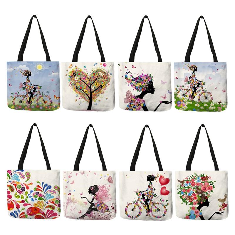 2018 Romantic Pattern Sac Feminin Women Totes Flowered Fairy Trees Bikes Handbag Eco Linen Girls Portable Bags Traveling Work
